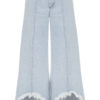Ksenia Schnaider Wide-leg jeans with frayed hems in light blue denim
