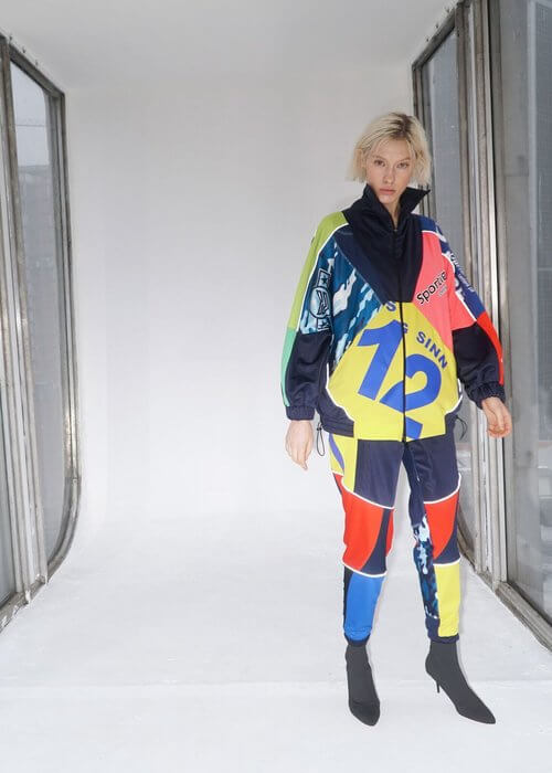 Sustainable brand Ksenia Schnaider using recycled tracksuit material to produce new Pre-Fall collection.