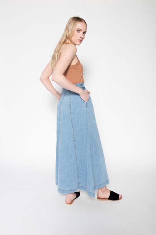Rolling Grenades Kowtow A-line Denim Skirt Back View