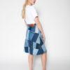 Rolling Grenades Ksenia Schnaider Reworked Denim Patchwork Skirt