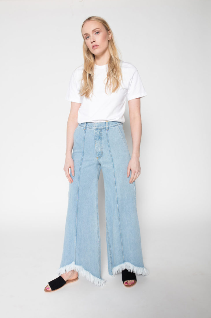 Rolling Grenades Ksenia Schnaider wide leg jeans with frayed hems