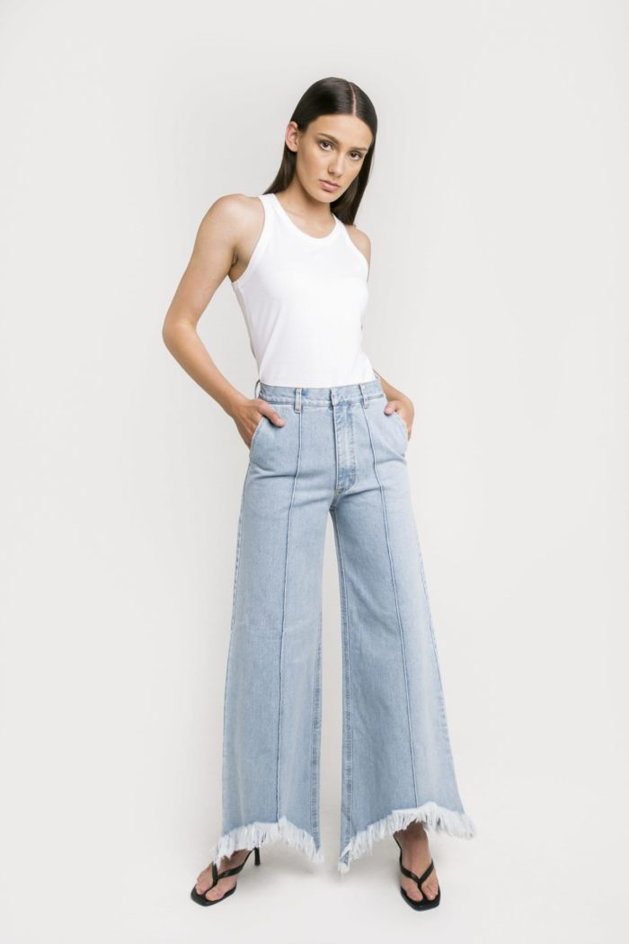 Sustainable Denim Label Ksenia Schnaider's Wide Leg Jeans with Frayed Hems