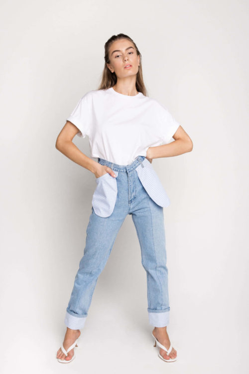Using secondhand denim, sustainable fashion label Ksenia Schnaider's Reworked Denim Jeans are a must have piece for every denim enthusiast.