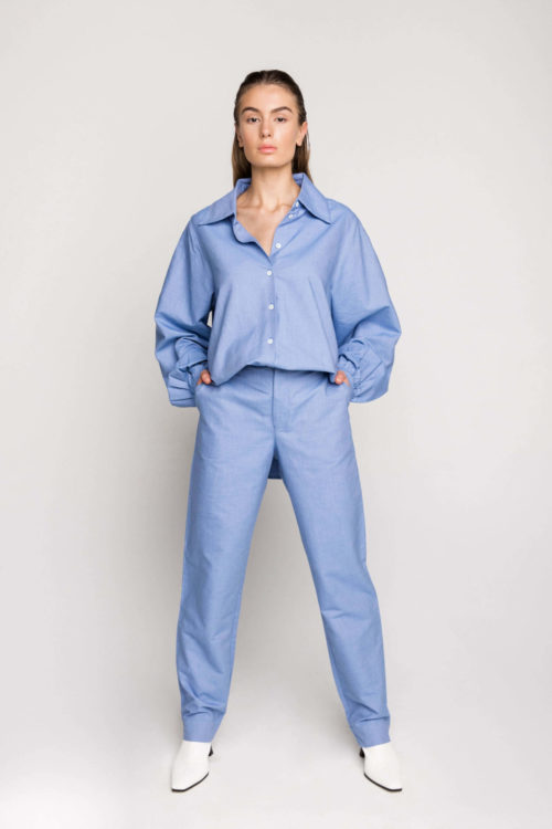 A statement piece from the ethical clothing label's AW20 collection, the mid-rise tapered pants in Sky Blue are the perfect addition to every woman's wardrobe.