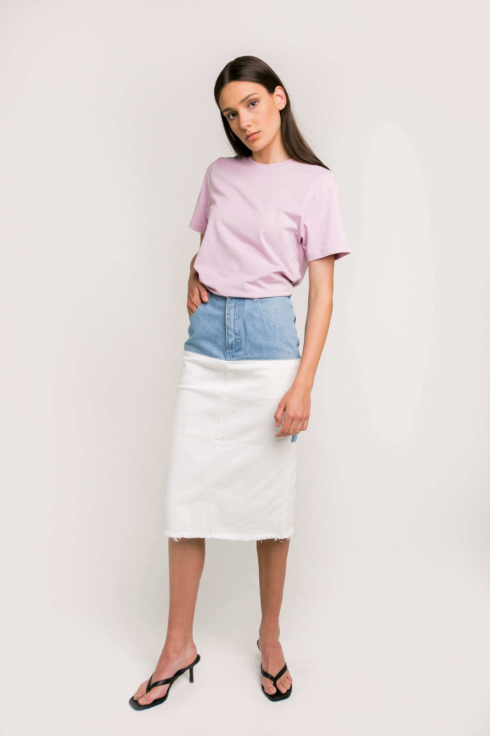 Sustainable Denim Label Ksenia Schnaider's Reworked Denim Skirt