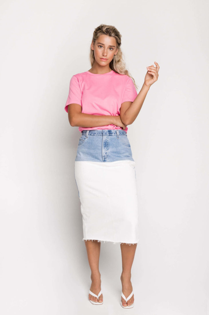 Sustainable fashion label Ksenia Schnaider's Reworked Denim Pencil Skirt is the ultimate street style piece. Made from secondhand denim, the skirt is a high waisted, straight fit style and each skirt is individually made and completely unique.