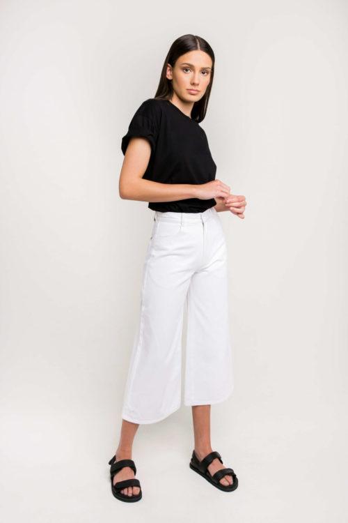 Sustainable and Denim Label Ksenia Schnaider's Wide Leg Denim Jeans in White