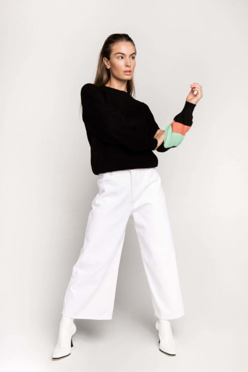 Sustainable and Ethical denim label Ksenia Schnaider's White Wide Leg Jeans.