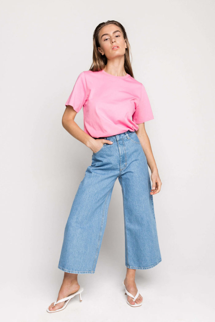 Sustainable denim label Ksenia Schnaider's Wide Leg Jeans are a flattering high-rise style designed for everyday wear.