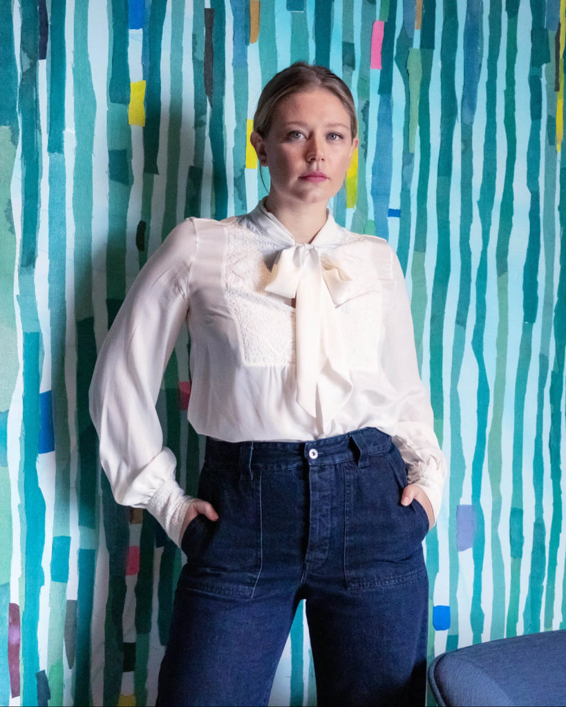 Founder of Walk Free Foundation Grace Forrest wearing Ethical brand Kowtow Denim Jeans.